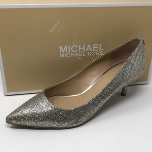 $120 Michael Kors kitten pump 9 silver